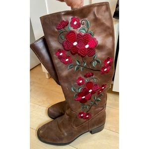 Brown Faux Leather Boots with Floral Embroidery